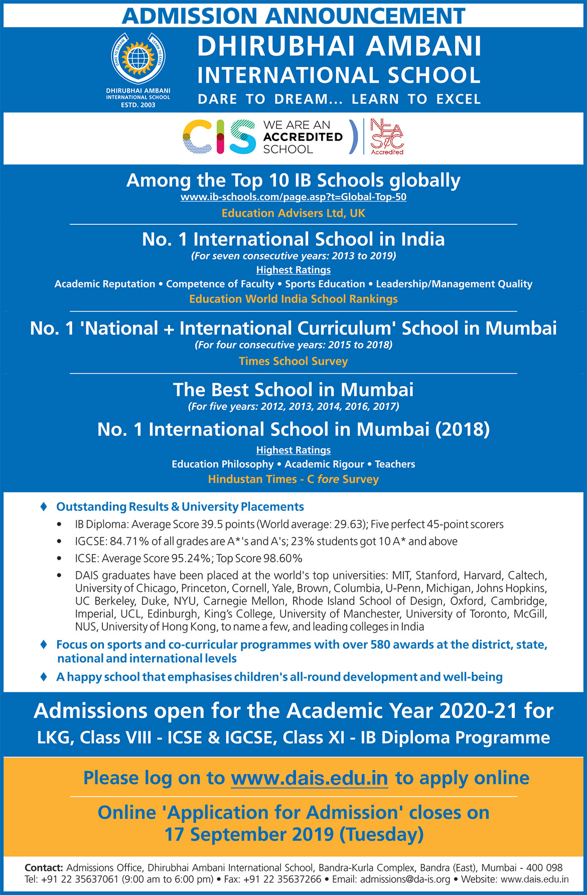 DAIS Admission - Top ICSE, IGCSE & IBDP School in Mumbai